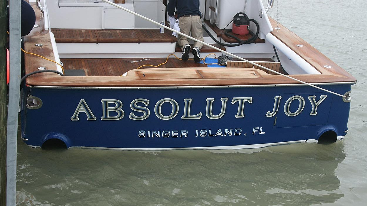 Absolut Joy, Singer Island Florida Boat Transom