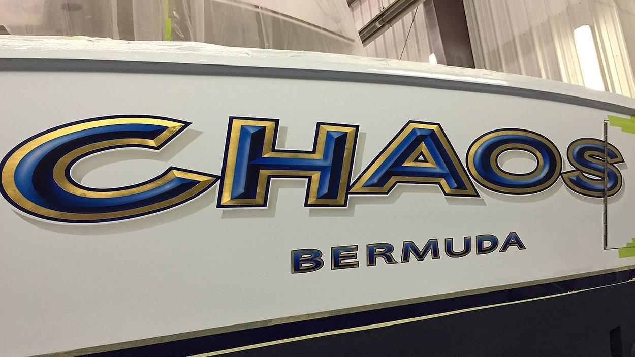 chaos bermuda boat transom