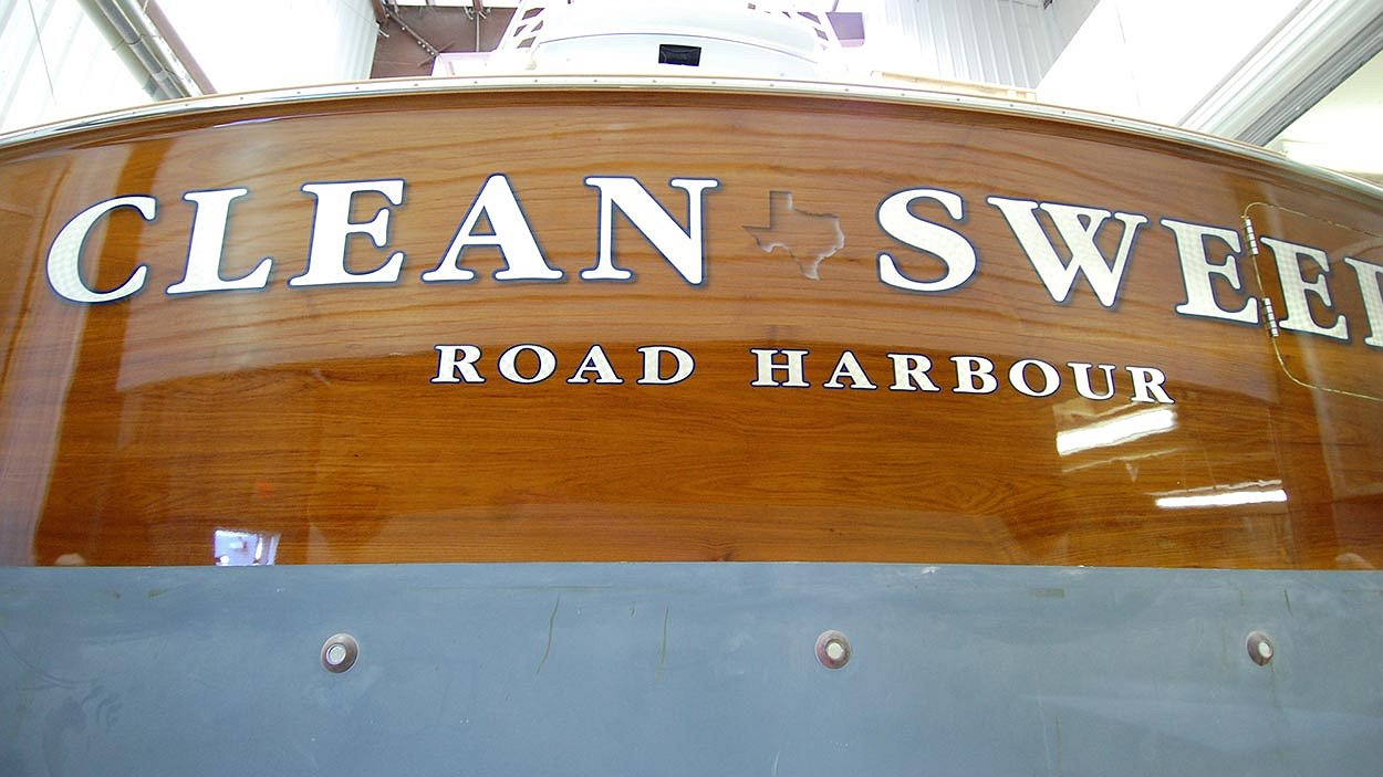 Clean Sweep 77, Road Harbour Boat Transom
