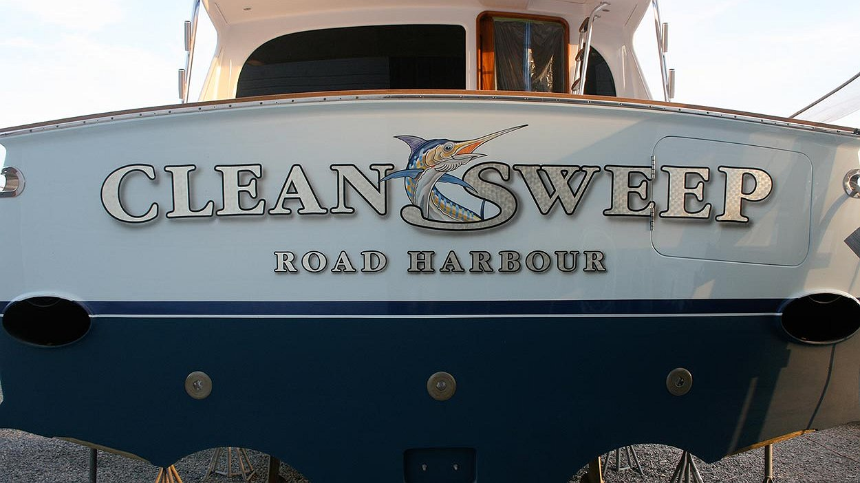 Clean Sweep, Road Harbour Boat Transom