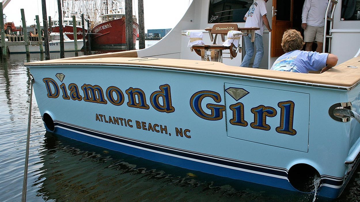 Diamond Girl, Atlantic Beach Boat Transom