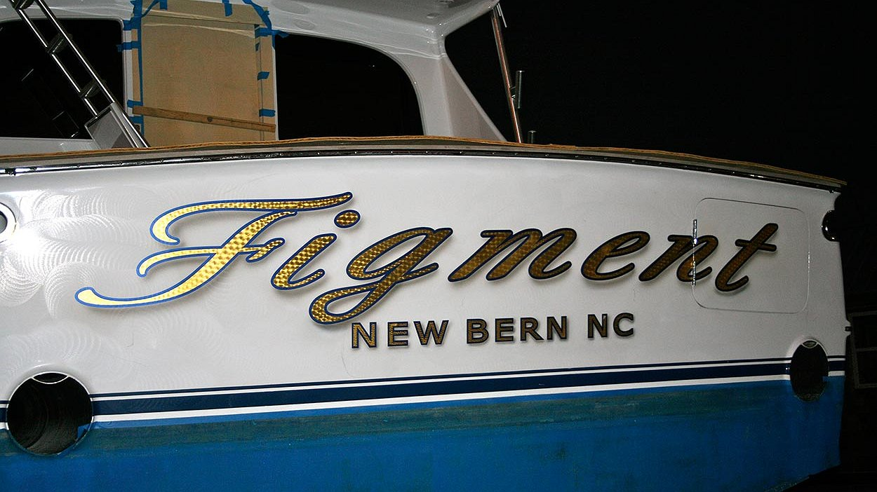 Figment, New Bern North Carolina Boat Transom