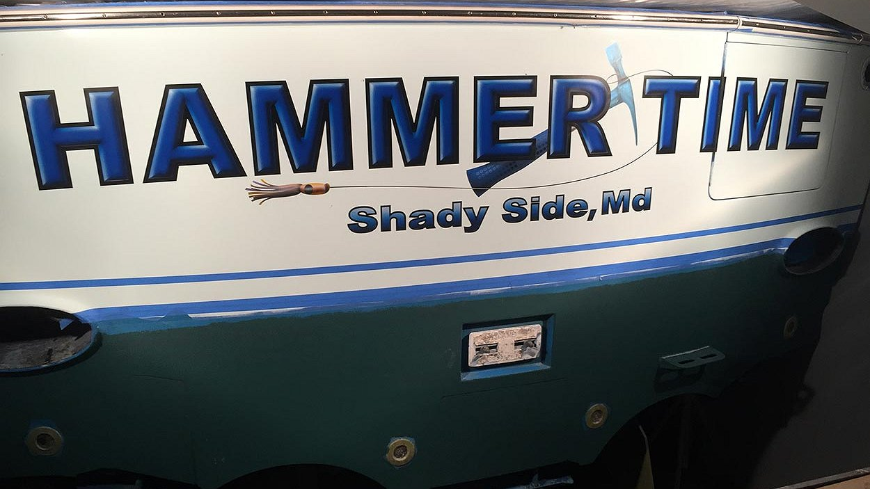 Hammer Time, Shady Side Maryland Boat Transom