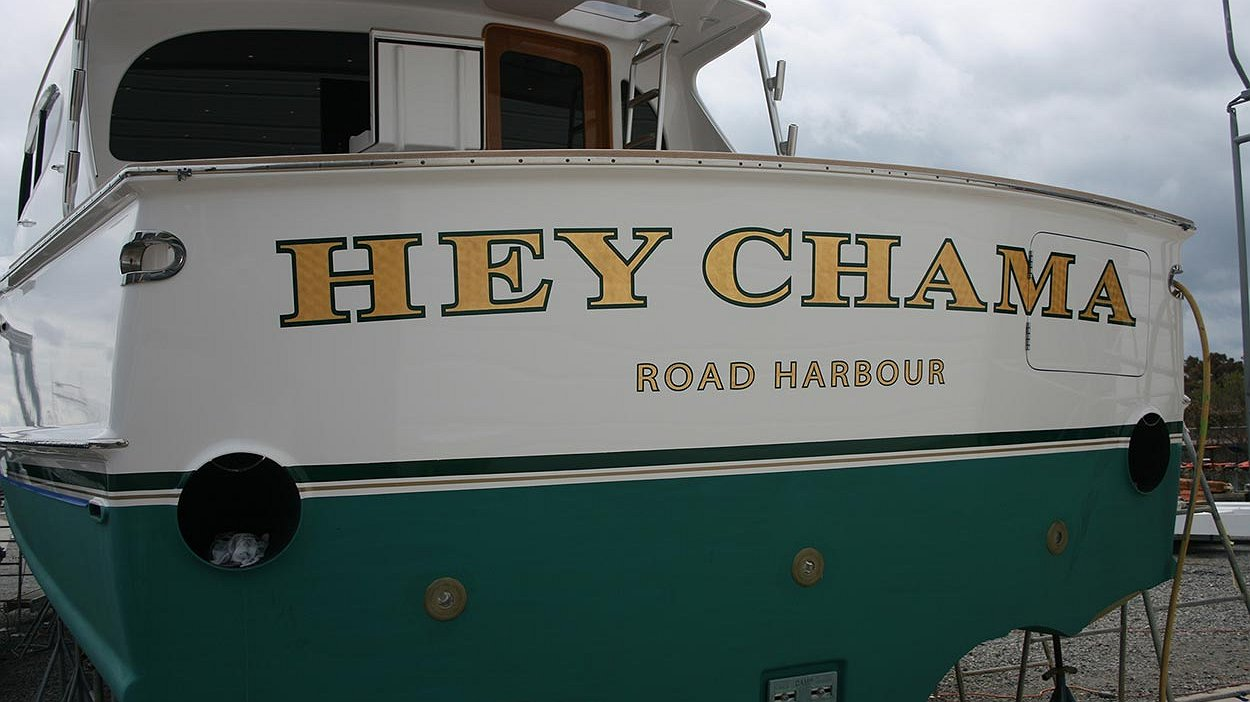 Hey Chama, Road Harbour Boat Transom
