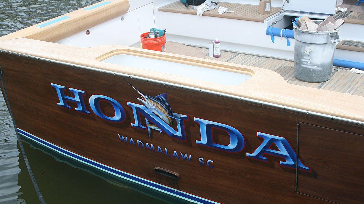 Honda, Wadmalaw South Carolina Boat Transom
