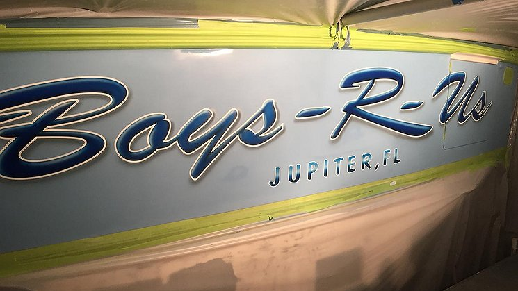 Boys R-Us, Jupiter Florida Boat Transom