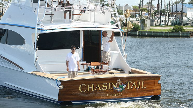 Chasin Tail, Ft Pierce Boat Transom
