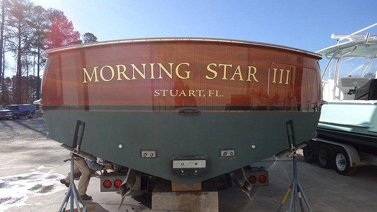 Morning Star III, Stuart Florida Boat Transom