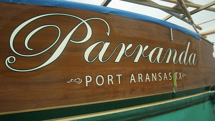 Parranda, Port Aransas Texas Boat Transom