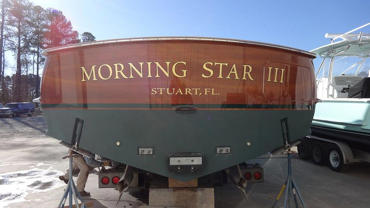 Morning Star III, Stuart Florida Boat Transom