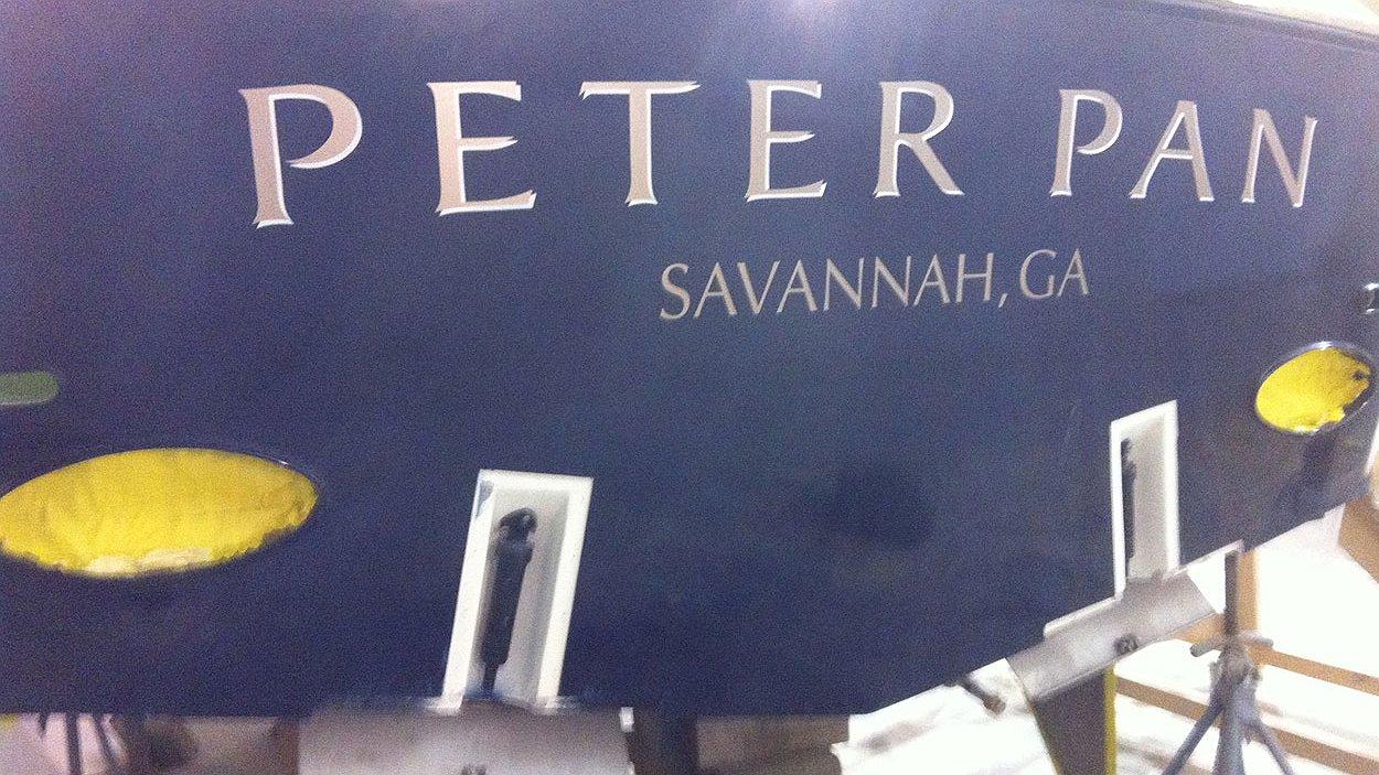 Peter Pan, Savannah Georgia Boat Transom