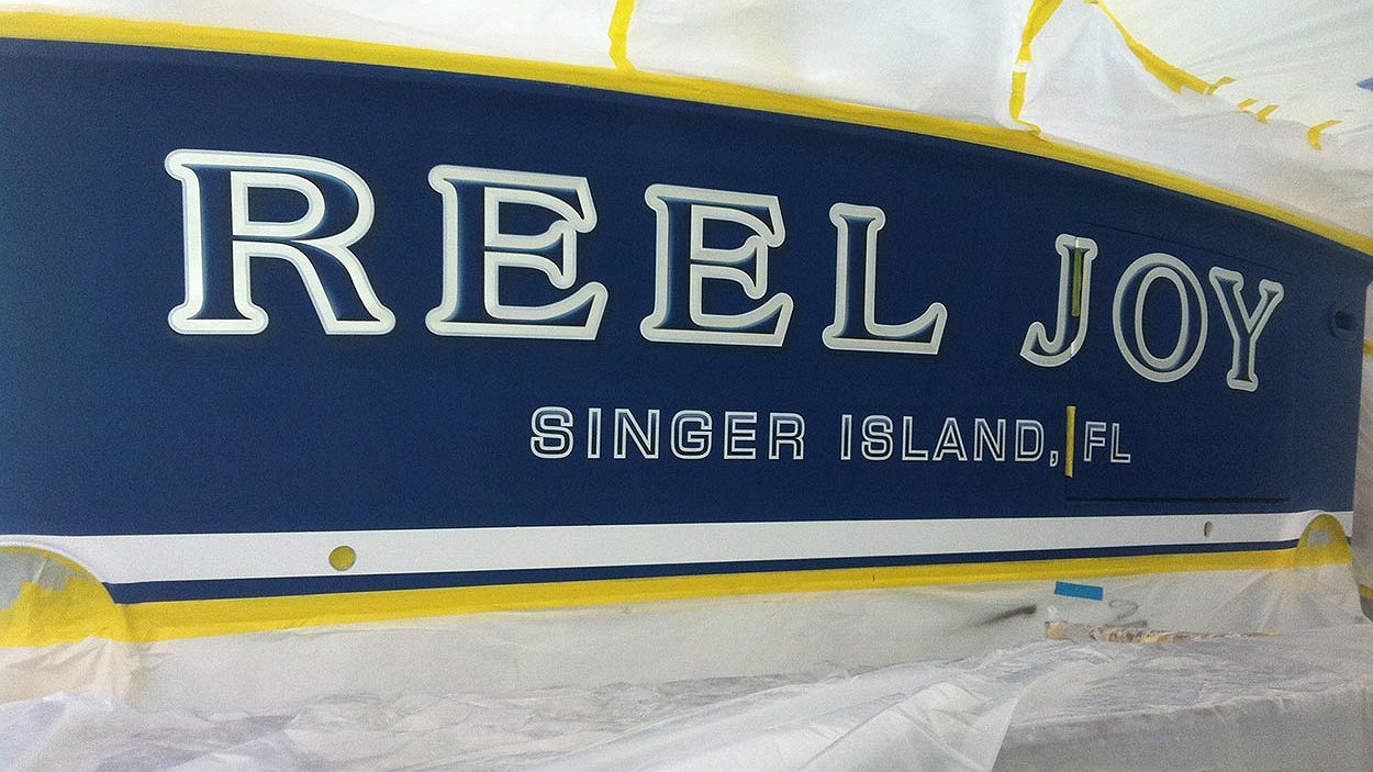 Reel Joy, Singer Island Florida Boat Transom