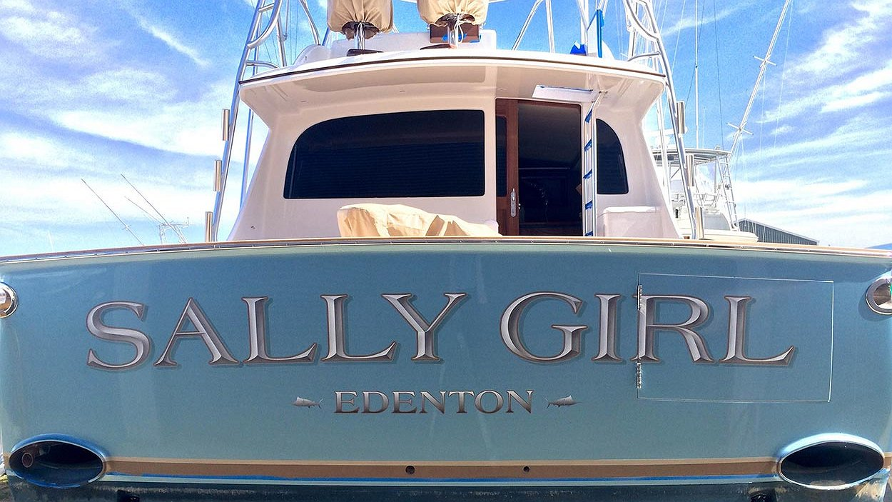 Sally girl edenton boat transom boats transom artwork for Custom transom