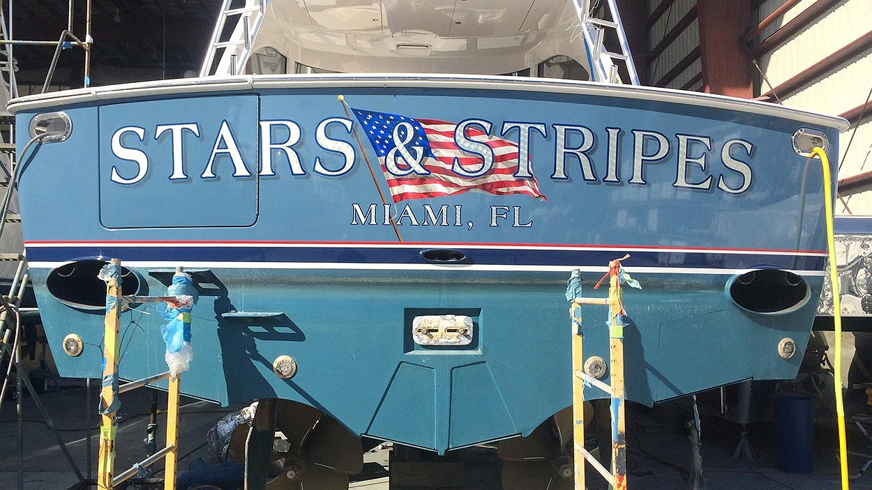 Stars & Stripes, Miami Florida Boat Transom