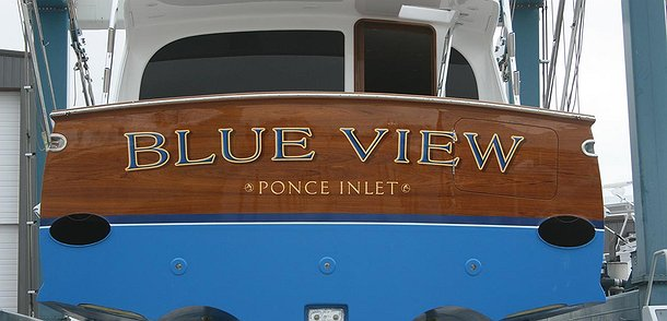 Blue View, Ponce Inlet Boat Transom