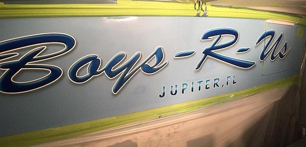 Boys R-Us, Jupiter Florida Boat Transom