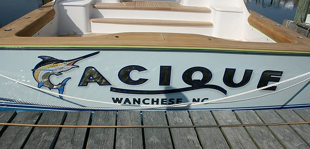 Cacique, Wanchese North Carolina Boat Transom
