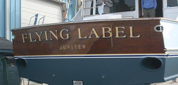 Flying Lable, Jupiter Boat Transom