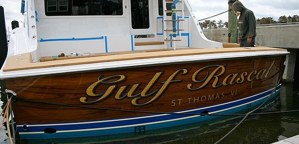 Gulf Rascal, St Thomas VI Boat Transom