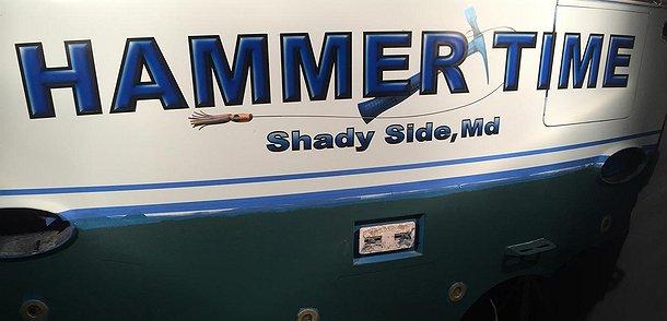 Hammer Time, Shady Side Maryland Boat Transom