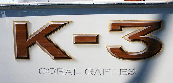 K-3 Coral, Gables Boat Transom