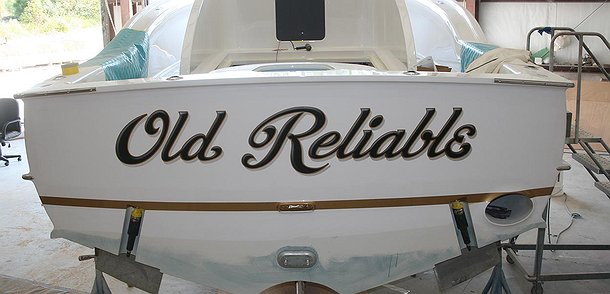 Old Reliable, Winter Custom Yachts Apex North Carolina Boat Transom