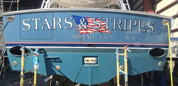 Stars & Stripes, Miami Florida Boat Transom