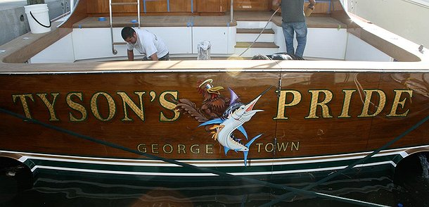 Tyson's Pride, George Town Boat Transom
