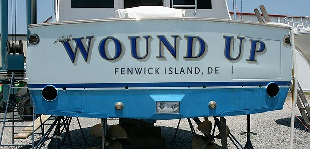 Wound Up, Fenwick Island Delaware Boat Transom
