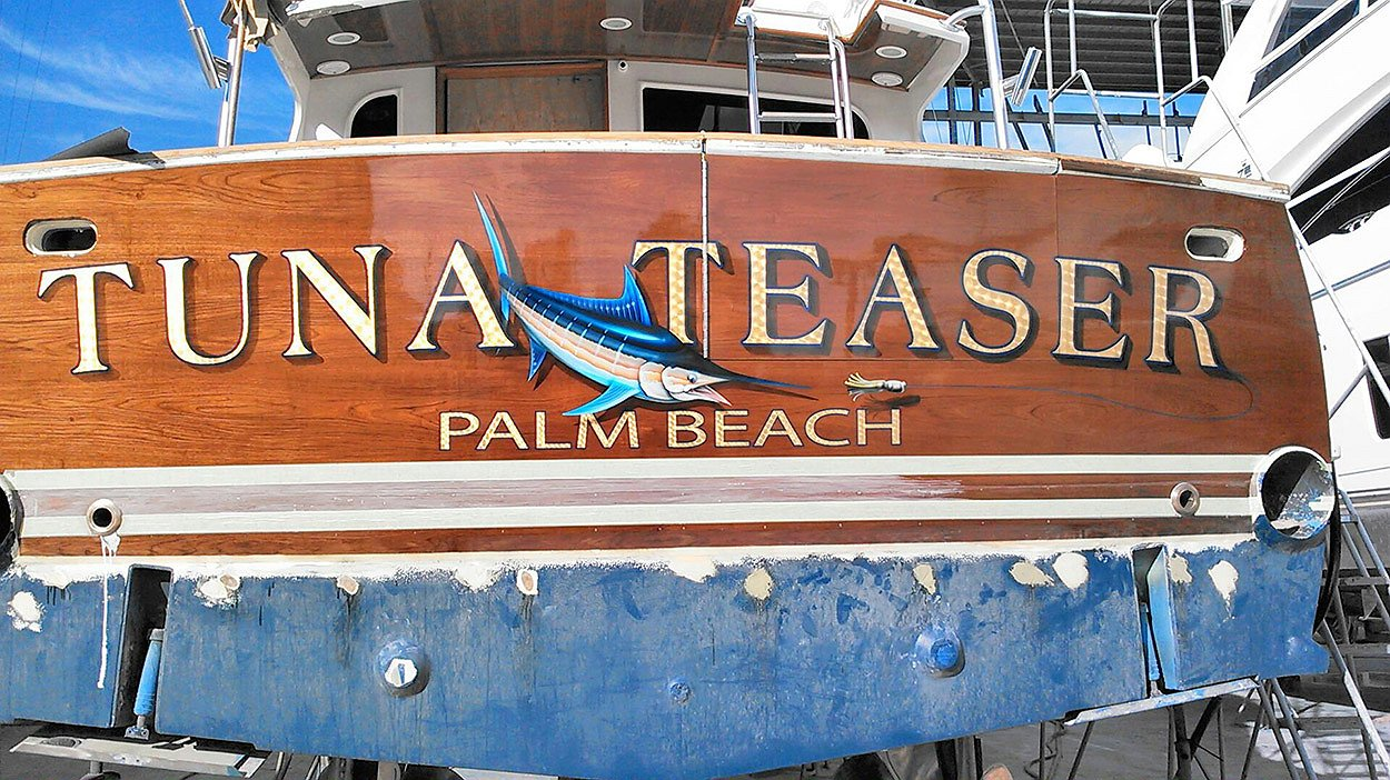 Tuna Teaser, Palm Beach Boat Transom