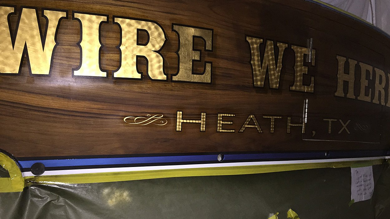 Wire We Here, Heath Texas Boat Transom