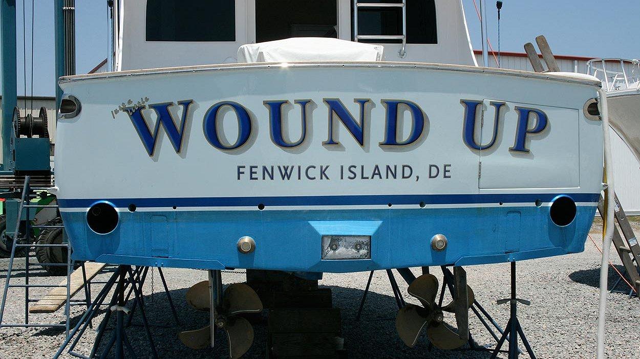 Wound Up, Fenwick Island Delaware Boat Transom