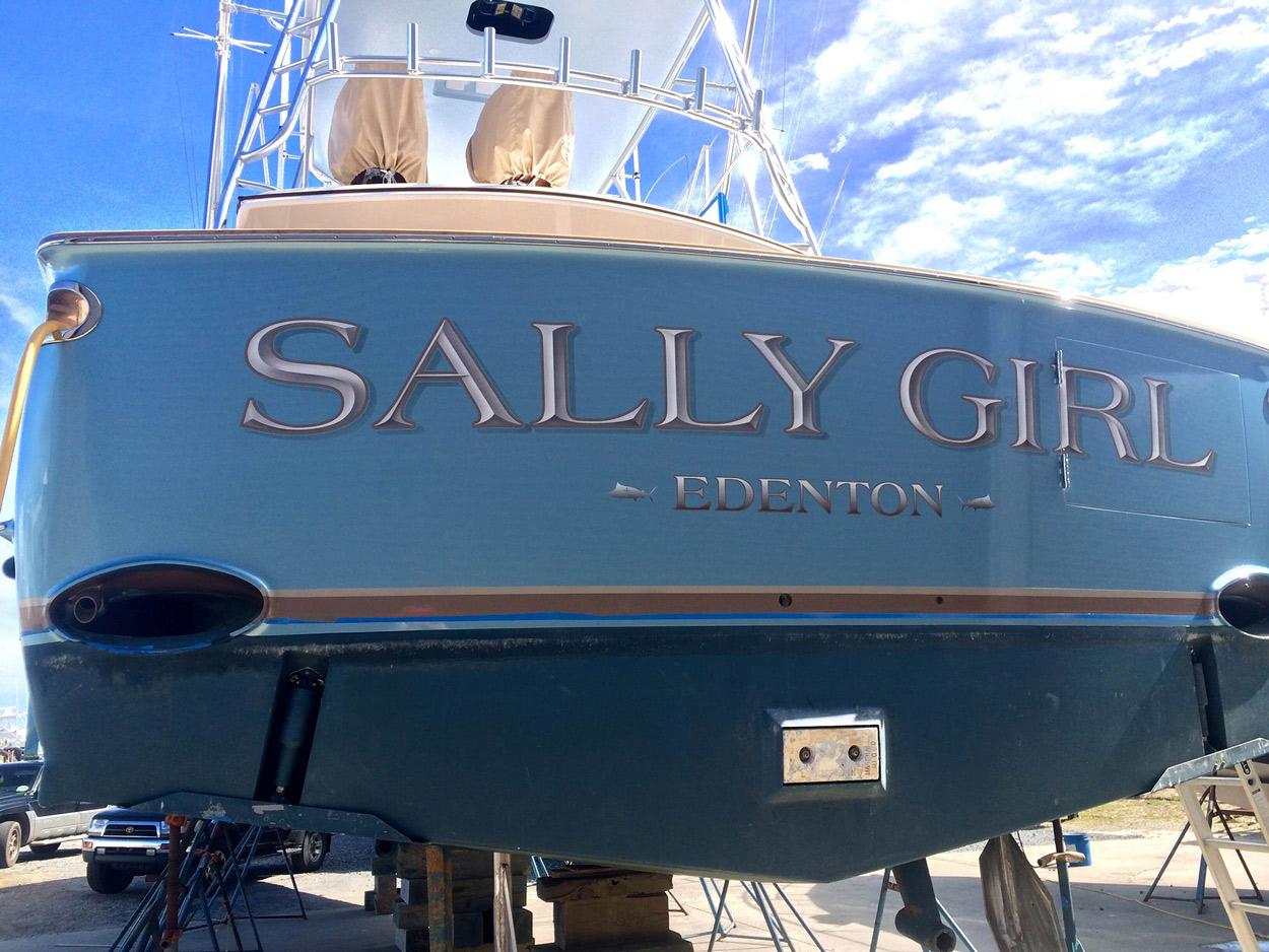 Sally Girl, Edenton Boat Transom | BOATS TRANSOM ARTWORK PAINTING | EVERETT NAUTICAL DESIGNS